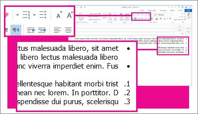 דוגמאות לרשימות עם תבליטים ולרשימות ממוספרות בהודעה