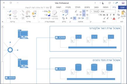 צילום מסך של דיאגרמה שנוצרה ב- Visio 2016.