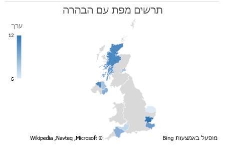 תרשים נתונים עם הבהרה בתרשים מפה של Excel