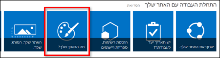 אתר חדש שנוצר ב- SharePoint Online, המציג אריחים שניתן ללחוץ עליהם לצורך התאמה אישית נוספת של האתר