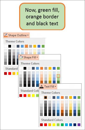 צורה עם מילוי, טקסט וצבעי גבול חדשים