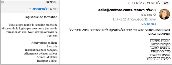 הודעה זו תורגמה מאנגלית לצרפתית באמצעות התוספת 'מתרגם עבור Outlook'