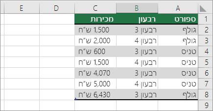 נתונים לדוגמה עבור PivotTable
