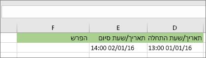 תאריך התחלה של 1/1/16 1:00 PM; תאריך סיום של 1/2/16 2:00 PM