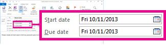 המאפיינים 'תאריך התחלה' ו'תאריך יעד' של משימה שהוקצתה