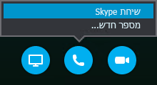 בחר באפשרות 'התקשר' כדי ליצור קשר עם שיחת Skype או כדי שהפגישה תתקשר אליך
