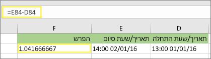=E84-D84 ותוצאה של 1.041666667