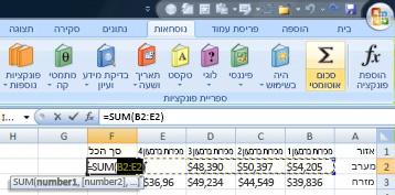 שימוש בסכום אוטומטי כדי להוסיף במהירות שורת נתונים