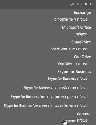 צילום מסך של תפריט בחירת דוח בלוח המחוונים של דוחות Office 365