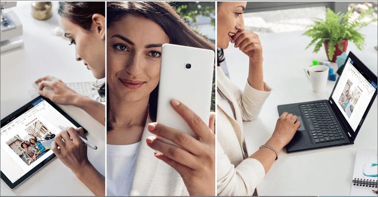 אישה במחשב נישא, בטלפון, ב- Tablet