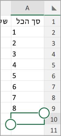 סכום אוטומטי של tablet Excel של Android