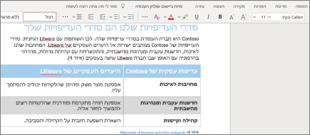עיצוב טקסט ב- Word Online