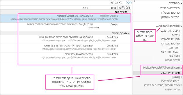 לאחר הוספת החשבון שלך ב- Gmail, תראה שני חשבונות ב- Outlook