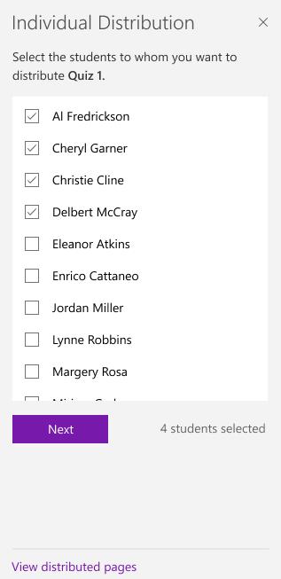 בחר תלמידים באמצעות תיבות סימון.