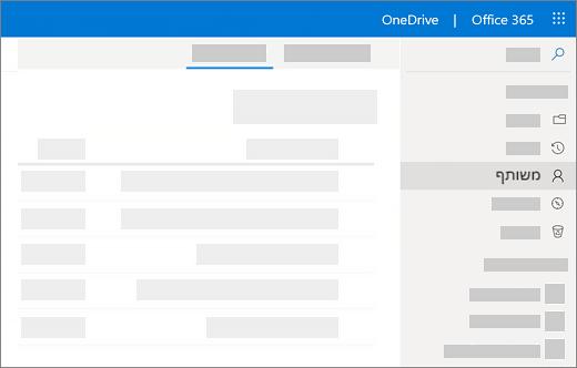 צילום מסך של התצוגה ' משותף על עצמי ' ב-OneDrive for Business