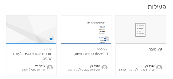 Web Part של פעילות אתר