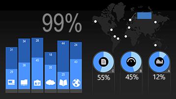 סוגי תרשימים בתבנית מונפשת של אינפוגרפיקת נתונים סטטיסטיים ב- PowerPoint