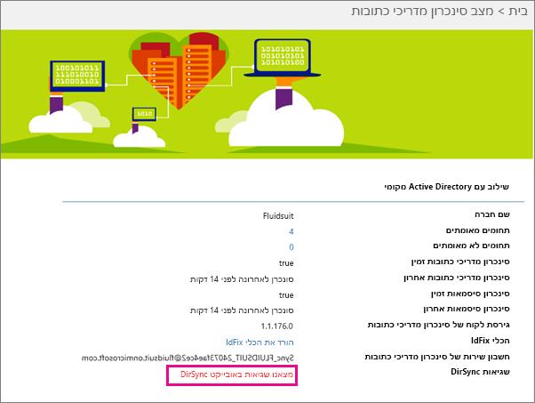 בדף 'המצב של סינכרון מדריכי כתובות' באפשרותך לראות אם קיימות שגיאות של אובייקטי DirSync
