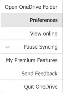מרכז הפעילות ב- OneDrive עבור Mac