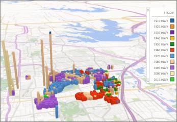 Power Map עם ערכת הנושא המהווה ברירת מחדל