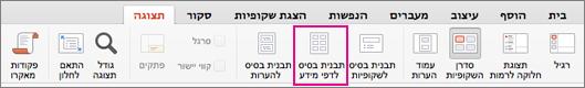 לחצן 'תבנית בסיס לדפי מידע' בכרטיסיה 'תצוגה'