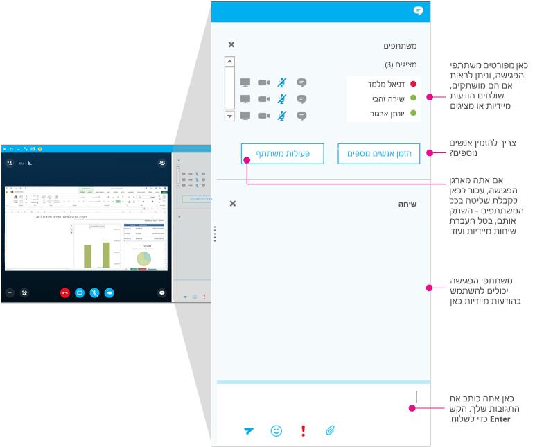 חלון פגישות Skype for Business, חלונית הודעות מיידיות, בדיאגרמה