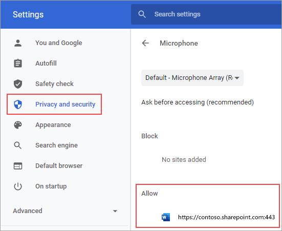 דף הגדרות הרשאות מיקרופון עבור Chrome