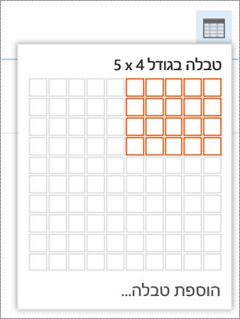 הוסף טבלה פשוטה ב- Outlook באינטרנט.