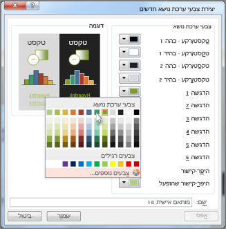 שינוי צבע של ערכת נושא