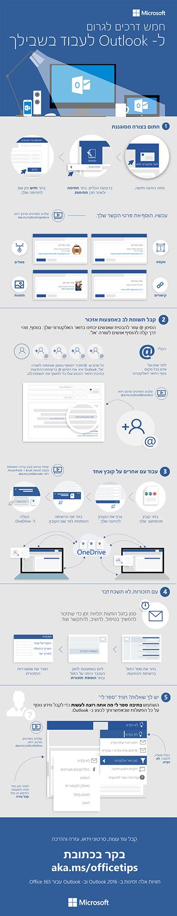 """5 שלבים לדואר אלקטרוני """"שמח"""" יותר ב- Outlook 2016"""