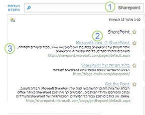 שלוש הצעות מומלצות עבור SharePoint Server מופיעות בראש הדף של תוצאות החיפוש
