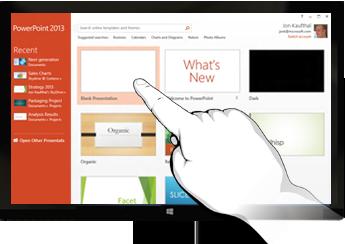 PowerPoint במכשירי מגע