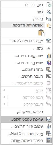 תפריט Win32 Excel עריכת טקסט חלופי עבור תרשימי Pivotchart