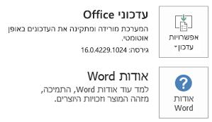 כאשר Office הותקן באמצעות טכנולוגיית 'לחץ והפעל', פרטי היישום והעדכון נראים כך.