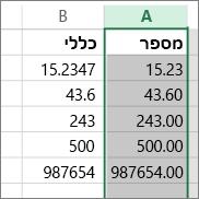 דוגמה של האופן שבו המספרים מופיעים עם תבניות שונות, כגון התבניות 'מספר' ו'כללי'.
