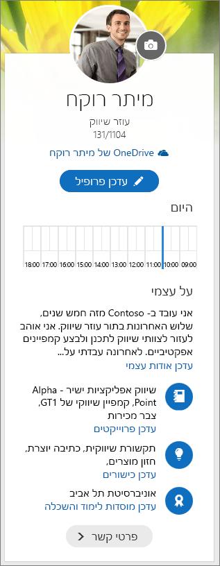 צילום מסך של תוכן ברירת המחדל של האזור 'אודות עצמי' במסך הניווט של Delve.
