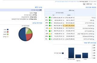 לוח מחוונים לדוגמה המתארח ב- SharePoint Server 2010