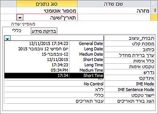 המאפיין 'תבנית' של שדה תאריך/שעה