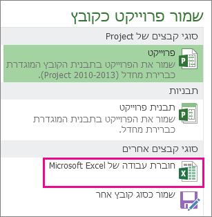 שמירת קובץ Project בתור חוברת עבודה של Microsoft Excel