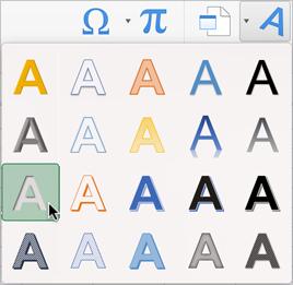 הכרטיסיה 'הוספה', תפריט Word Art, הסמן על 'מילוי - אפור-25%, רקע 2, צל פנימי'