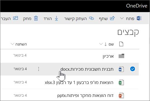 OneDrive עם הקובץ שנבחר