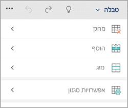 Tab טבלה ב- Windows phone