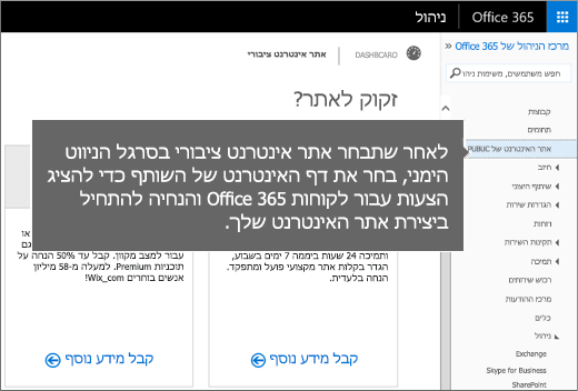 ב- Office 365 בחר 'אתר אינטרנט ציבורי'