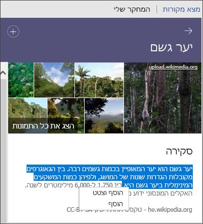 הצגת כל התמונות, הוספת טקסט או הוספה וציטוט טקסט ב'חוקר'