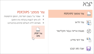 שמירת מצגת כקובץ PDF