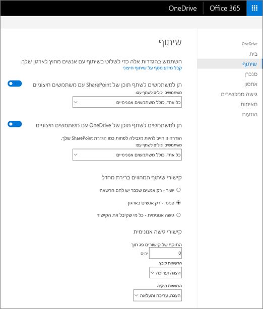 הכרטיסיה ' שיתוף ' של מרכז הניהול של OneDrive