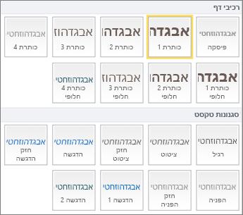 צילום מסך של רכיבי דף וסגנונות טקסט הזמינים בקבוצה 'סגנונות' ברצועת הכלים של SharePoint Online.