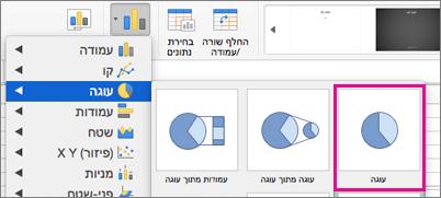 בורר סוג תרשים ב- Office for Mac