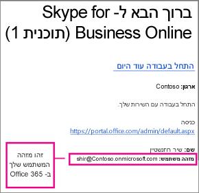 דוגמה להודעת 'ברוך הבא' שקיבלת לאחר שנרשמת ל- Skype for Business Online. היא מכילה את מזהה המשתמש של Office 365 שלך.