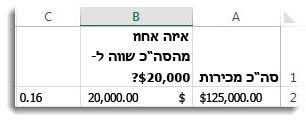 $125,000 בתא A2, $20,000 בתא B2 ו- 0.16 בתא C3